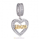 Love Sister Heart Dangle Charm Beads 925 Sterling Silver