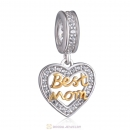 Best Mom Heart Dangle Charm Beads 925 Sterling Silver
