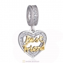 Best Friend Heart Dangle Charm Beads 925 Sterling Silver