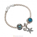 White Braided Leather Bracelet with Oceanic Starfish Charms