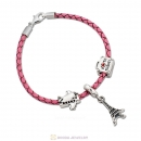 Paris Tour Pink Braided Leather Bracelet Charms Travel Lover Gifts