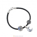 Starry Night Black Braided Leather Moon and Star Bracelet Charms