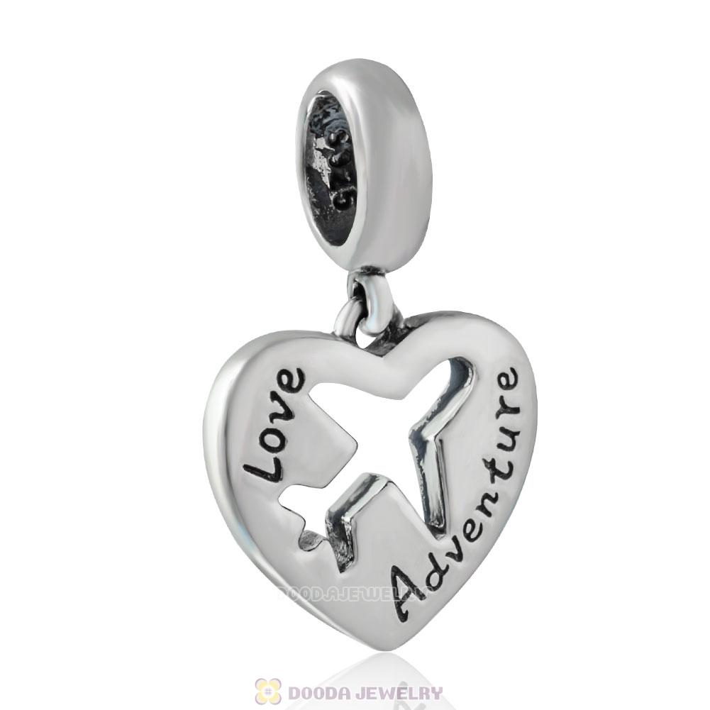 Love Adventure Dangle Heart Charm