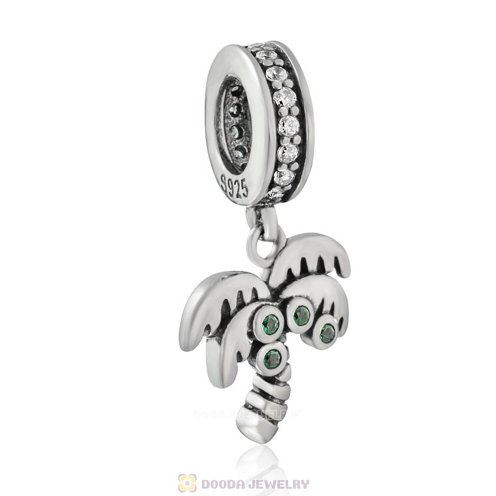 Palm Tree Charms with Green Zircon Stone