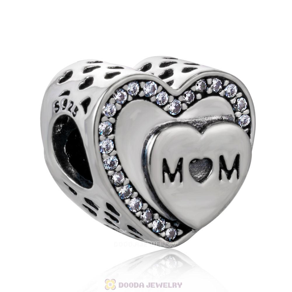 Tribute to Mom Charm Beads with White Zircon