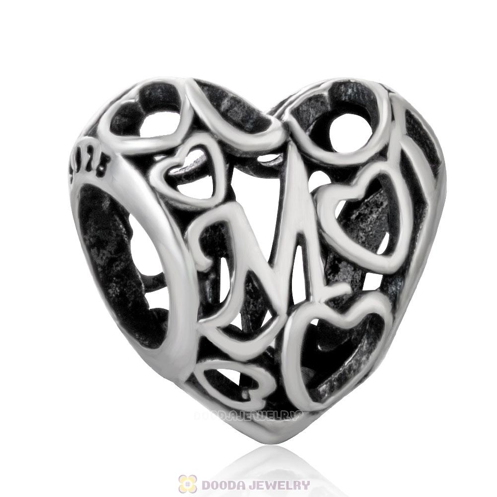 Heart Mom Motherly Openwork Love Charm