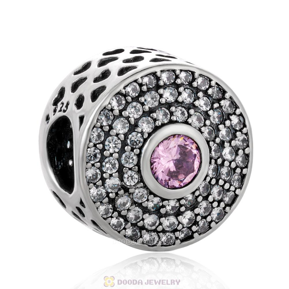 Radiant Splendor with Pink and Clear CZ Button Charm