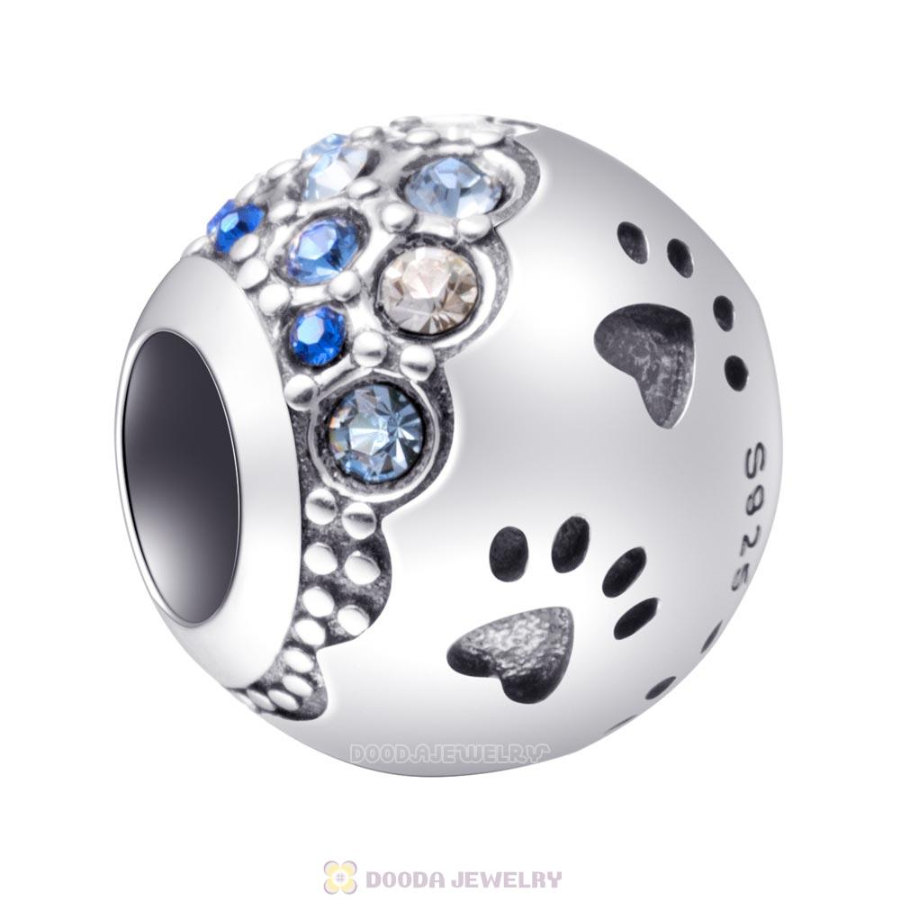 Dog Paw Print Charm 925 Sterling Silver with Austrian Crystal