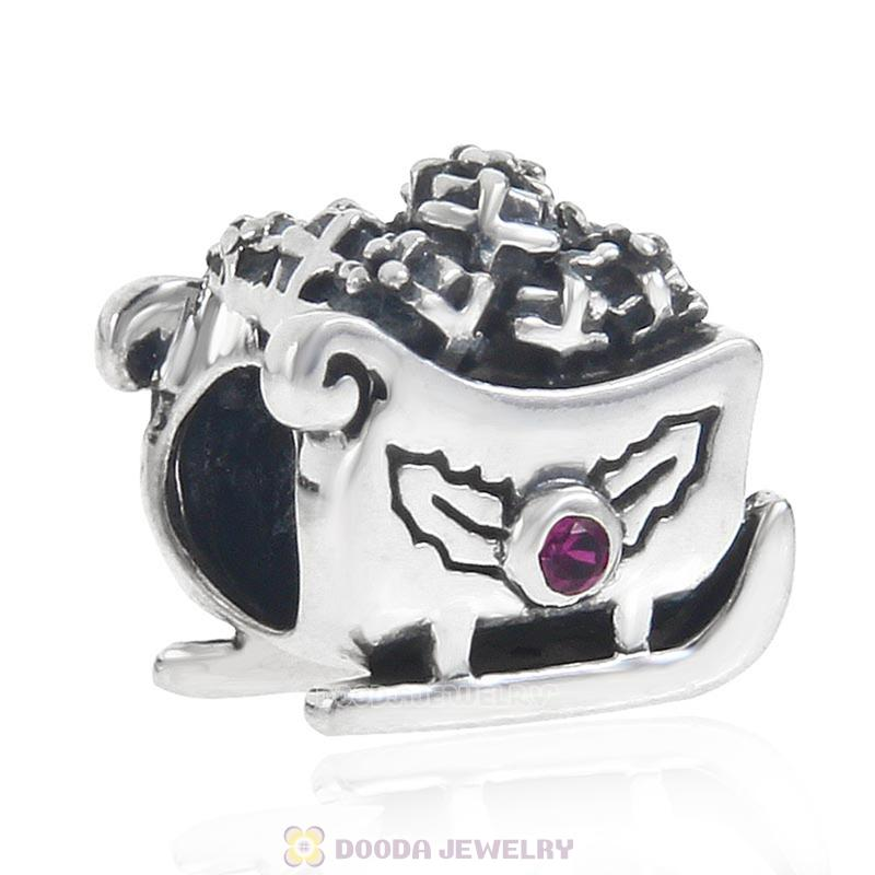 European Style Santa Claus Sleigh Charm Beads with CZ Stone
