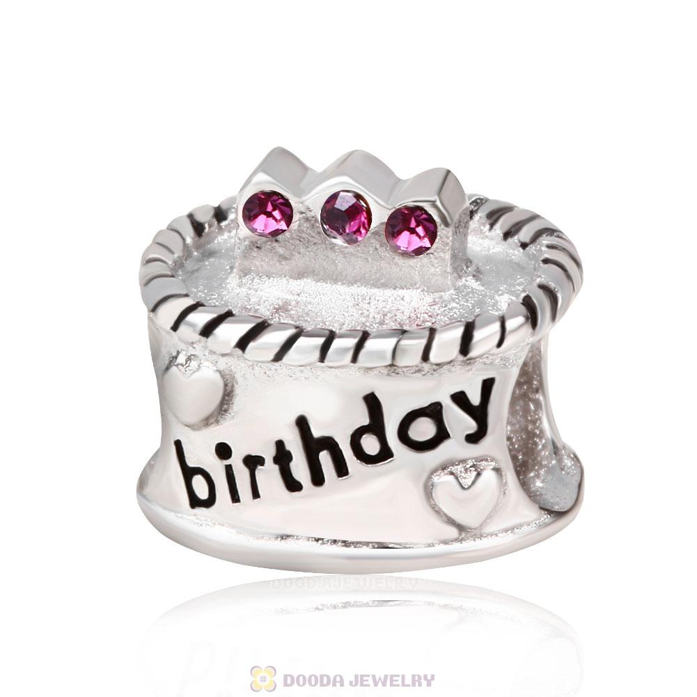 Birthday Cake Charm with Amethyst Austrian Crystal