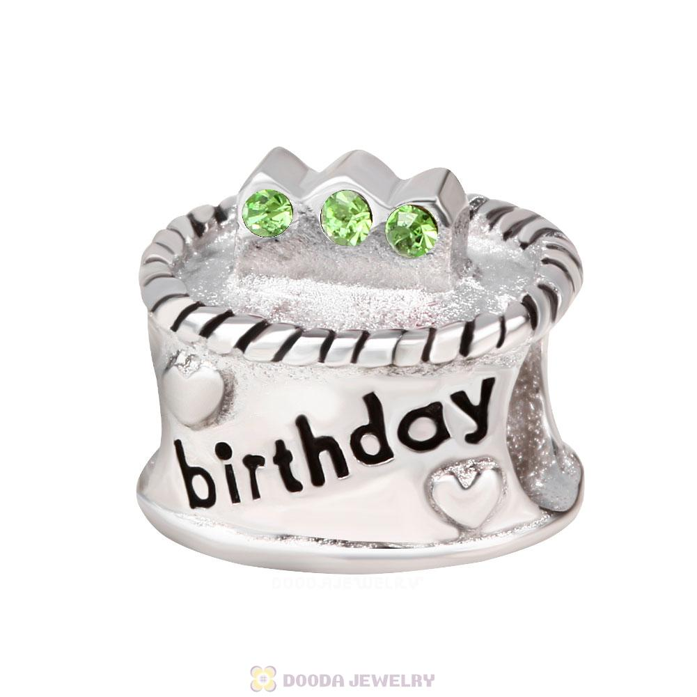 Birthday Cake Charm with Peridot Austrian Crystal