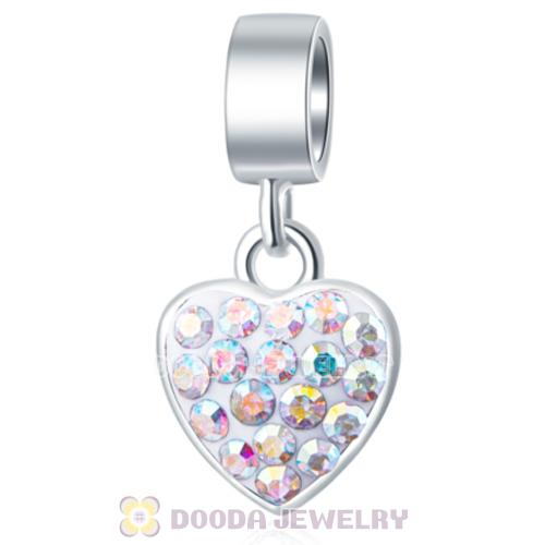 925 Silver Sweet Heart Dangle Charms with AB Austrian Crystal