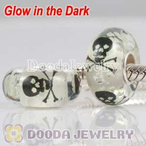Painted Macabre Skull Crossbones Murano Glass fluorescen Beads 925 Silver European Compatible