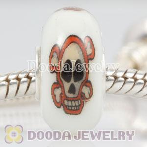Painted Skull Crossbones Murano Glass Beads 925 Sterling Silver European Compatible