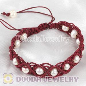 Wholesale Fashion Hand Knitted Adjustable handmade Red Bracelet with Nature Freshwater Pearl
