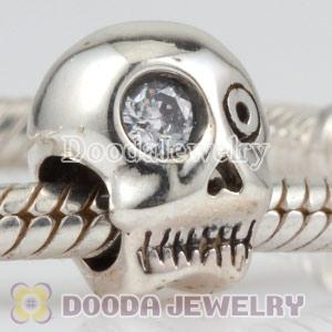 925 Sterling Silver Skull CZ Beads European Compatible