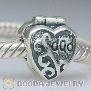 925 Solid Silver father's day charms Jewelry Clip Beads