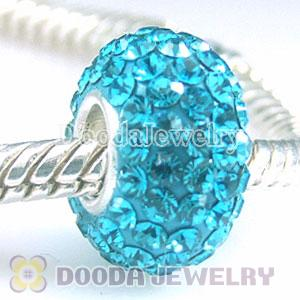 Jewelry silver beads with 90 crystal rhinestones blue Austrian crystal Jewelry beads